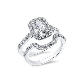 Oval Cushion 1.5 Carat, 14K Wedding Ring Set