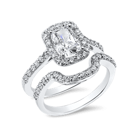 Oval Cushion 1.0 Carat, 14K Wedding Ring Set